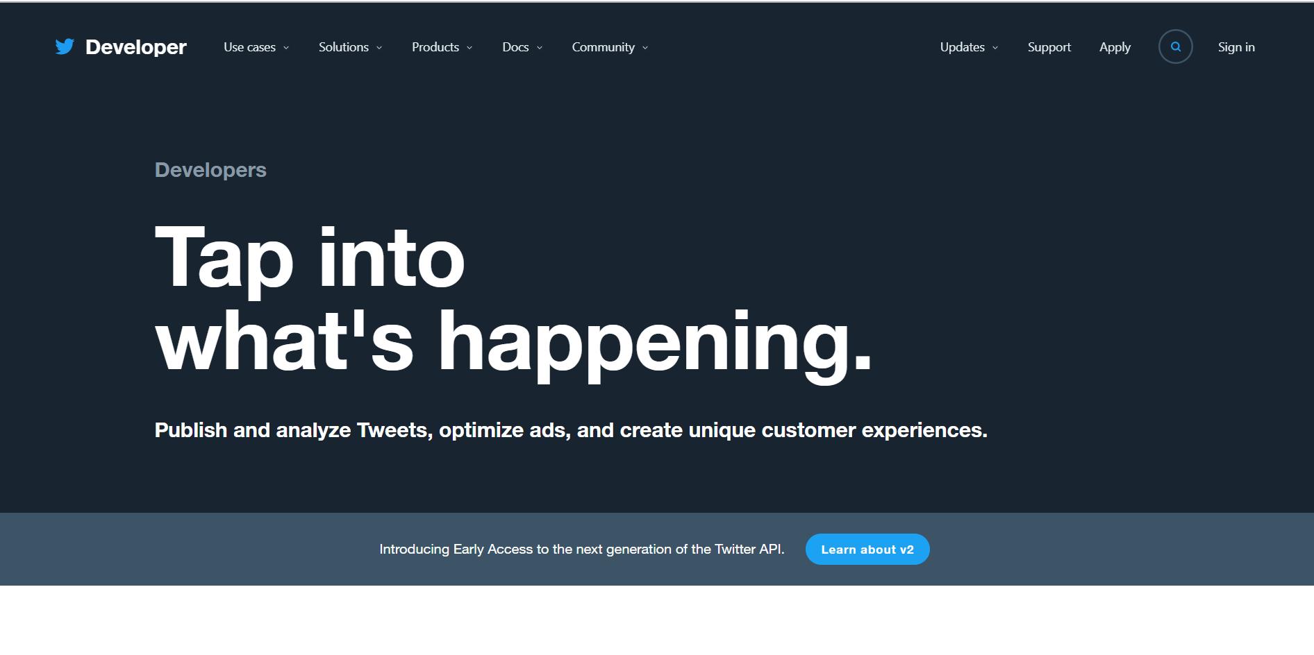 صفحه توسعه دهندگان توییتر