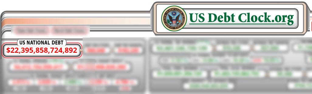 usdebtclock.org - بدهی ملی آمریکا، 83 دلار به ازای هر شهروند آمریکایی