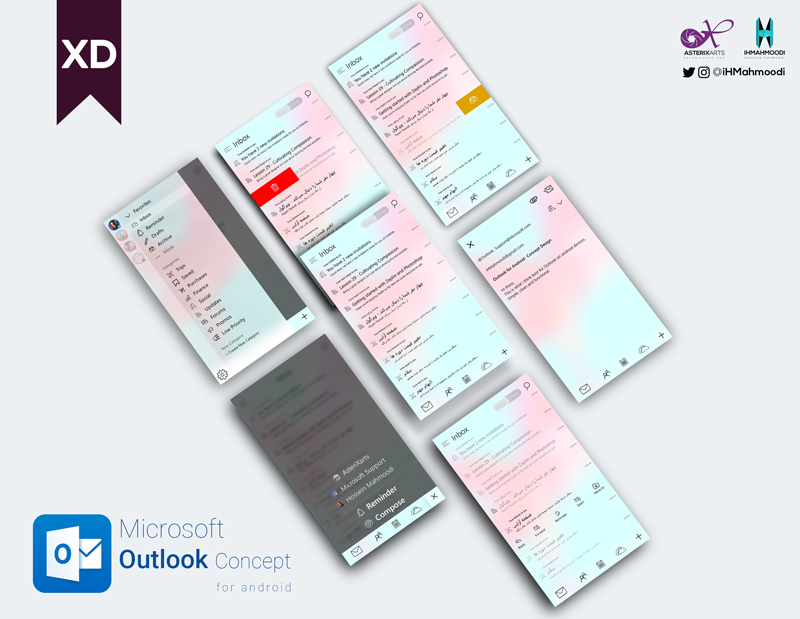 نمونه کار: طراحی رابط کاربری اپلیکیشن اندرویید Microsoft Outlook