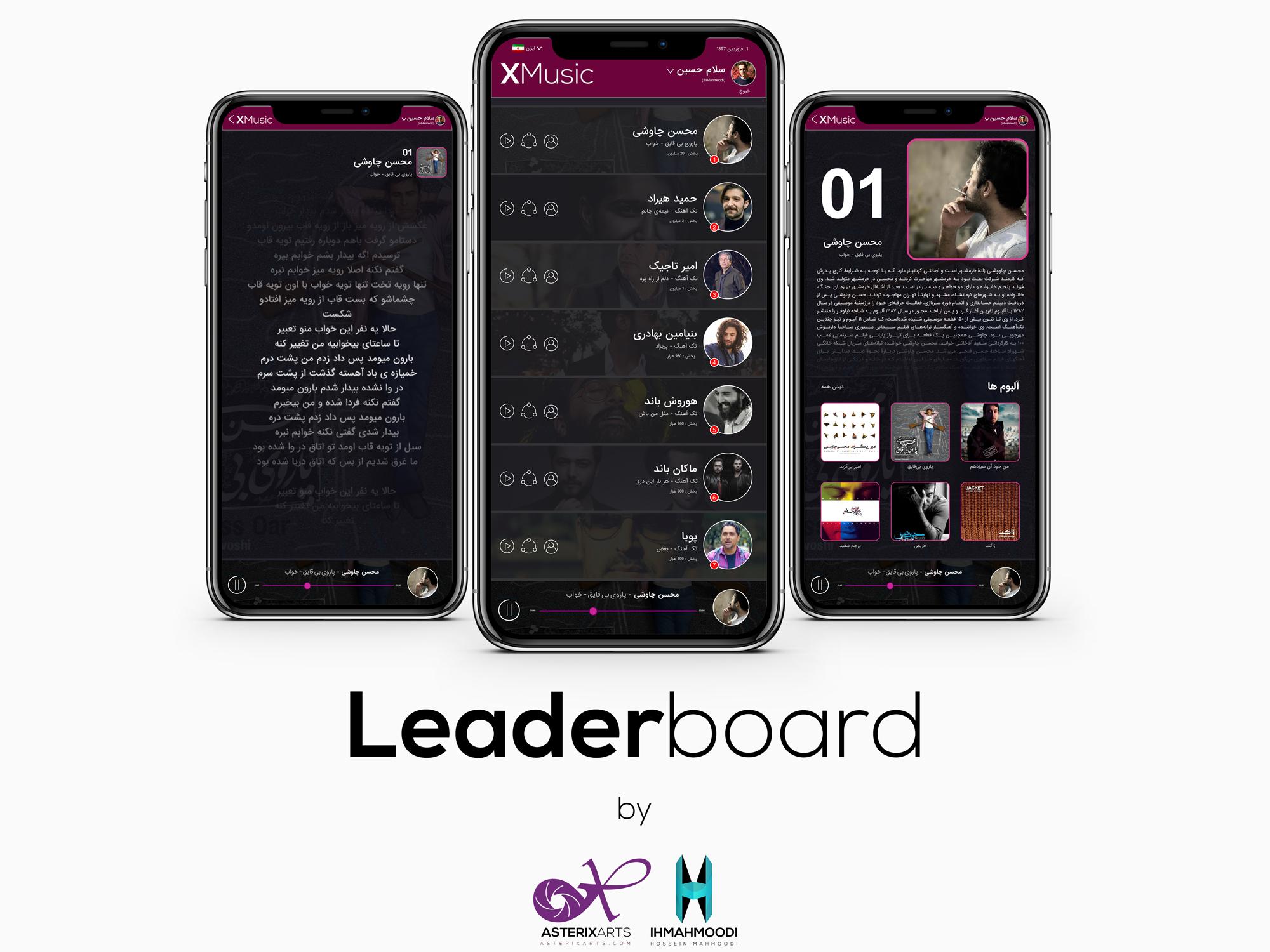 نمونه کار: طراحی رابط کاربری اپلیکیشن برد رتبه بندی ( Leaderboard )