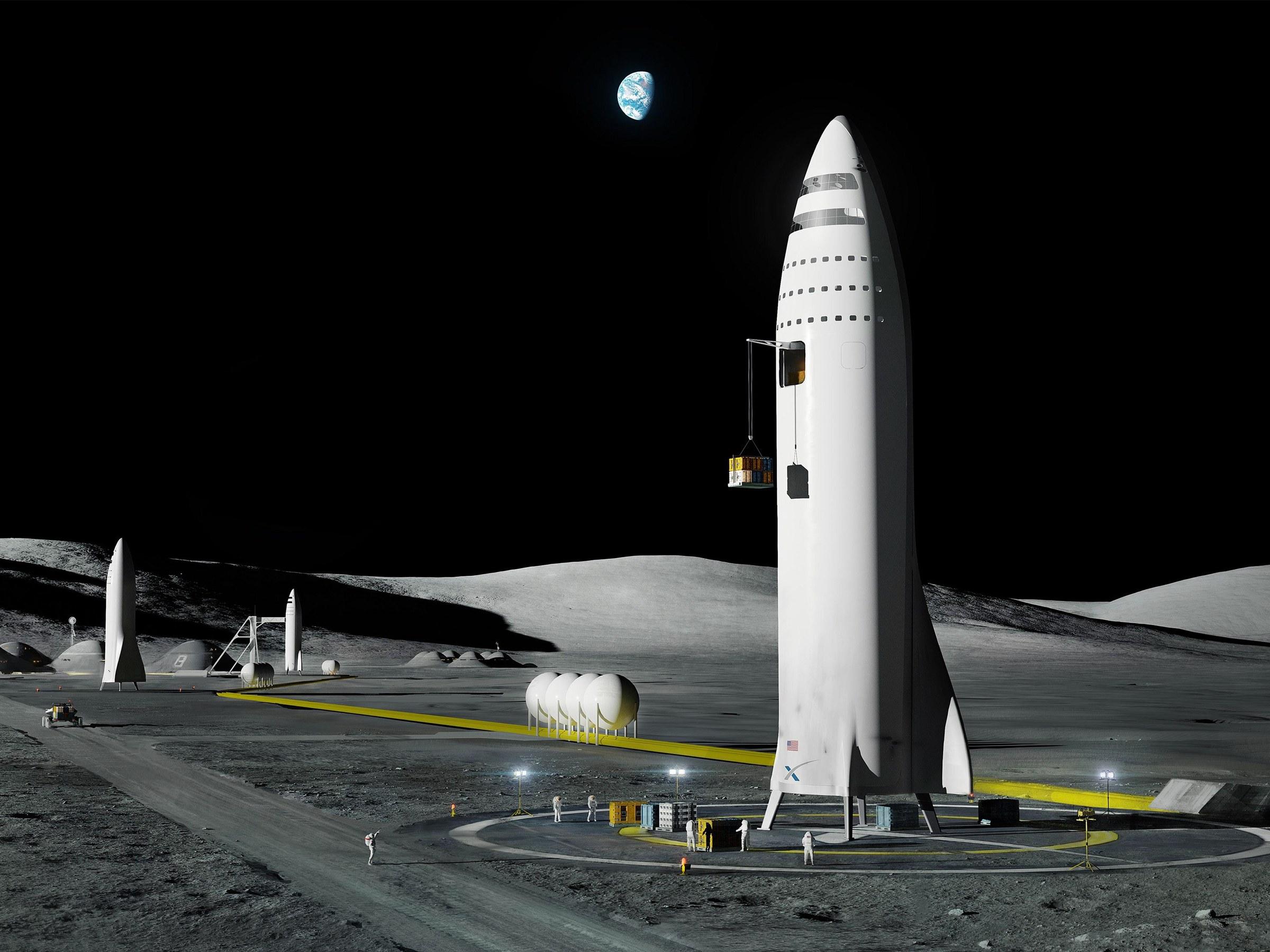 طرحی مفهومی-هنری از SpaceX و عملیاتی کردن موشک BFR - ایده اینه که ماهوارههایی حامل سوخت رو هم طی پرتابهایی جداگانه توی مدار قرار بدن تا امکان سوختگیری مداری فراهم بشه و نیازی باشه که مثل ساترن-5، کلّ سوخت رفت و برگشت به صورت یکجا حمل بشه