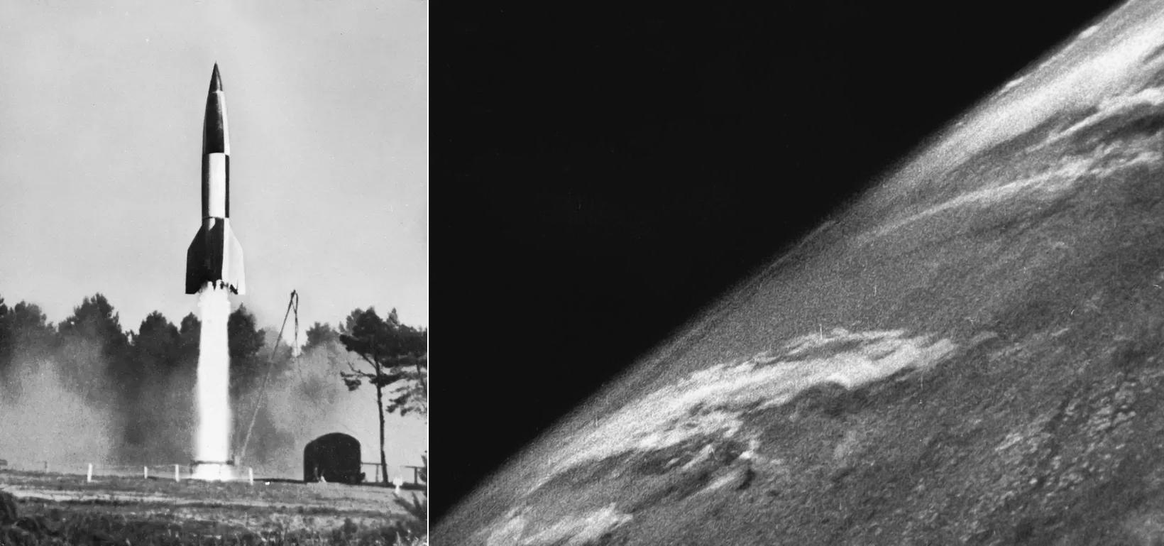 چپ: پرتاب موشک V-2 | راست: اوّلین تصویری که بشر از زمین گرفته که توسّط دوربینی روی بدنهی همین موشک، ضبط و مخابره شد.