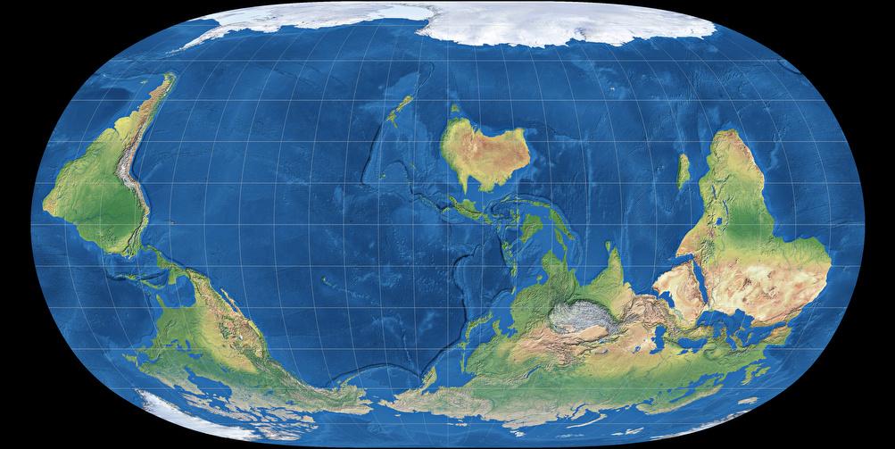 توضیح مختصر راجع به تصویر: به این نوع نقشه میگن South-up. اصولاً هیچ دلیل خاصّی نداره که شمال رو