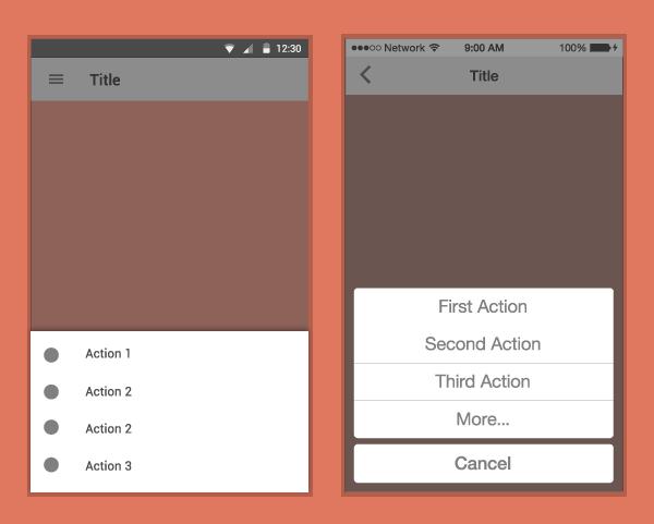 در پلتفرم های مختلف. سمت راست iOS، سمت چپ Android