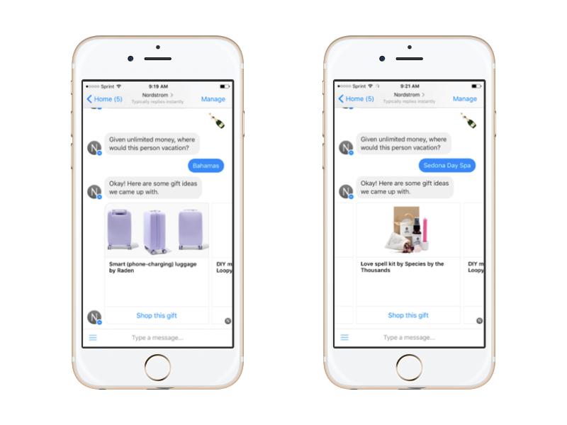 چت بات پیامرسان فیس بوک پیشنهاد خرید را در قالب یک رابط کاربری محاوره ای برای کاربر فراهم می کند.