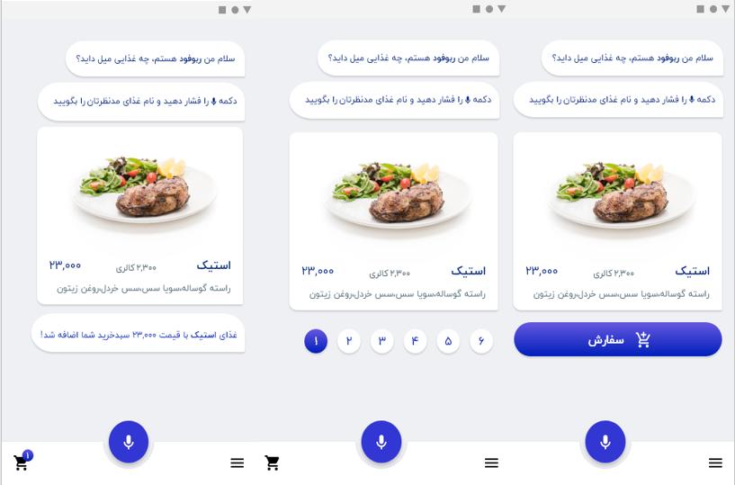مراحل سفارش گیری غذا - از راست به چپ