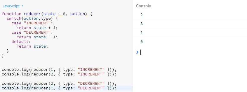 خروجی تابع reducer برای شمارشگر