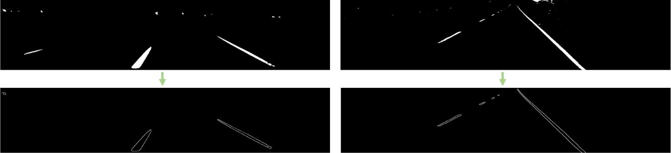 نمونه خروجی برای الگوریتم آشکارساز لبه برای خط کشی های جاده در تصاویر روز (راست) و شب (چپ)