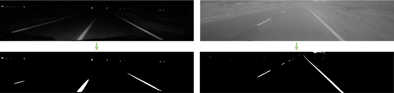 استخراج پیکسل های مورد نیاز برای شناسایی خط کشی های جاده در تصاویر روز (راست) و شب (چپ)