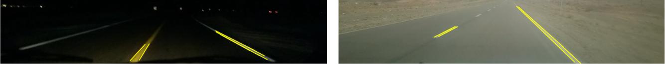 خطوط یافت شده (زرد) با استفاده از پیکسل های لبه بعد از نگاشت از فضای هاف به فضای تصویر و قرار گرفته بر روی تصاویر اصلی