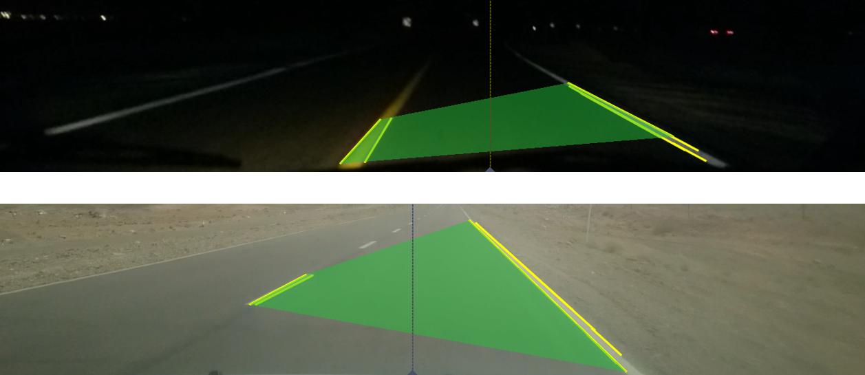 نتیجه نهایی پردازش تصویر برای یافتن خط تصمیم گیری میزان انحراف خودرو از جاده (خط چین) در شب (بالا) و روز (پایین)