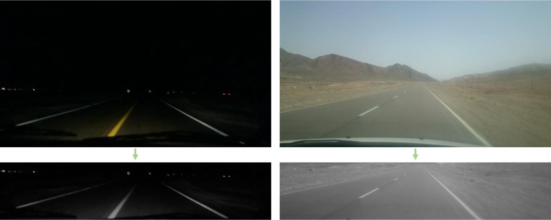 تبدیل تصویر رنگی ورودی دریافت شده از دوربین به تصویر طیف خاکستری و حذف بالا و پایین در تصویر روز (راست) و شب (چپ)