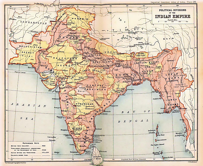 نقشهی هند بریتانیا در سال ۱۹۰۹. قسمتهای صورتی تحت کنترل مستقیم بریتانیا (همون انگلستان خودمون) و قسمتهای زرد شاهزادهنشین بوده. زمان بریتانیاییها، ۶۰۰ شاهزادهنشین وجود داشته.