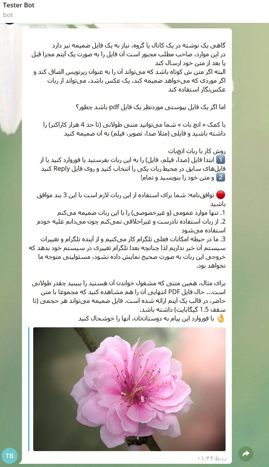 آموزش ضمیمه متنهای طولانی به فایلها و تصاویر از طریق ربات تلگرام