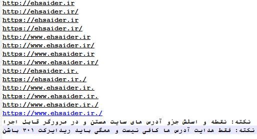 انواع مختلف حالتهای نوشتن آدرس سایت