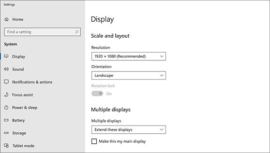 تنظیمات Display در ویندوز