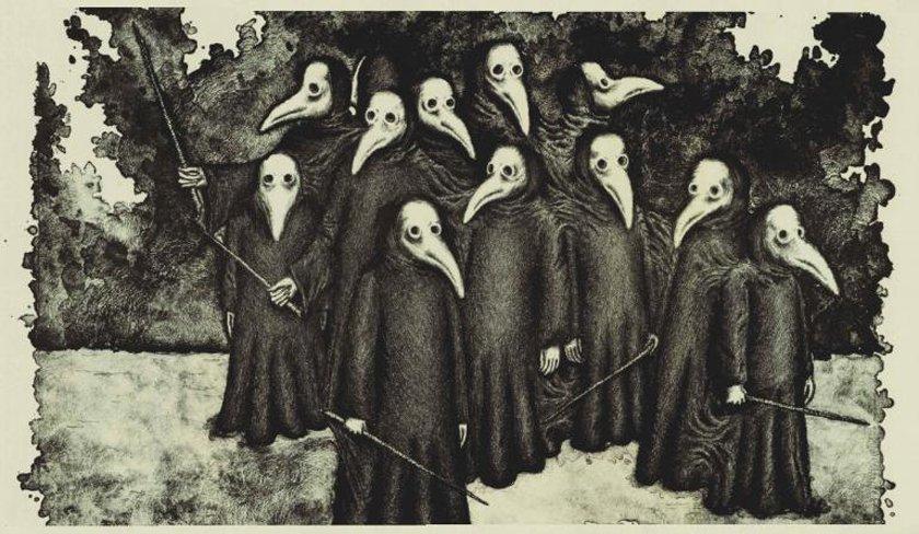 لباس فرم پزشکان قرون وسطایی. آخر فشن بوده نه؟ لباسها برای جلوگیری از سرایت بیماریها بوده، و روش درمان هم اکثراً حجامت و تنظیم بلغم و شلغم و صفرا و از این چیزها.