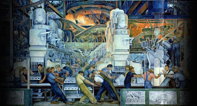 نقاشی دیواری توسط هنرمند مارکسیست مکزیکی به نام دیگو ریورا که کارگران را داخل یک سیستم وسیع شبیه ماشین نشان می دهد