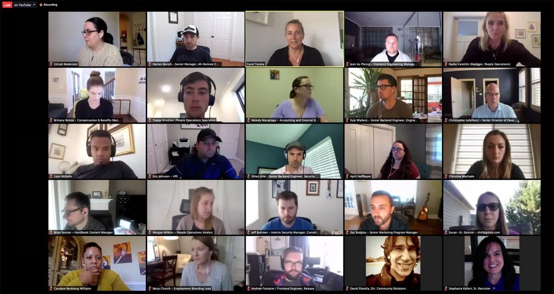 یک تصویر از جلسه تیمی شرکت گیتلب از طریق زوم