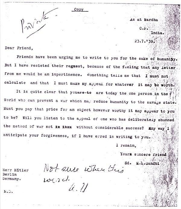 نخستین نامهٔ گاندی به هیتلر که سال ۱۹۳۹ نوشته شد