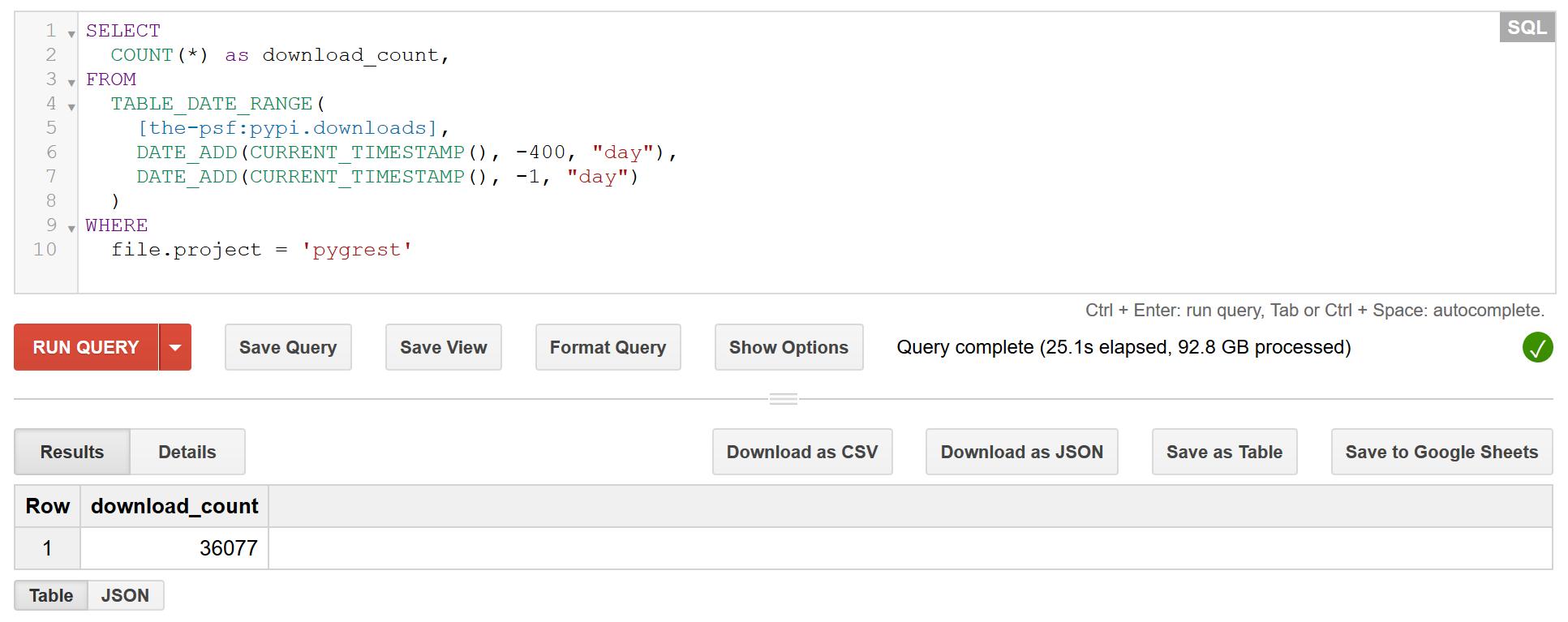 تعداد دانلود پروژه gREST بر مبنای اطلاعات دیتاست the-psf:pypi با استفاده از BigQuery گوگل