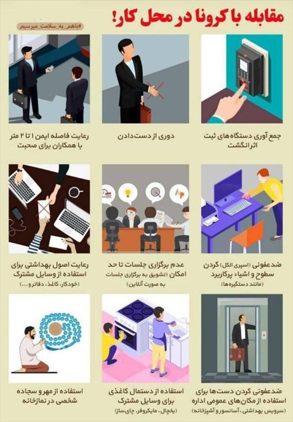 ۱۱ توصیه کلیدی برای مقابله با کرونا در محل کار +اینفوگرافی