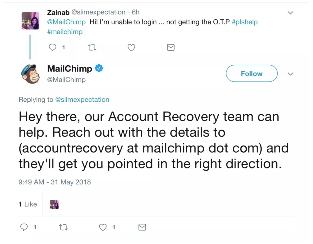 میل چیمپ در حال پاسخگویی به مشکل کاربر در توییتر